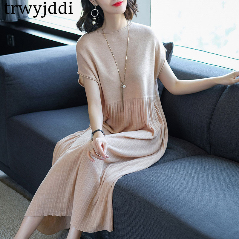 2018 Spring New Loose Knit Women Dress Long Pleated Dress Summer Female Sweater Pullover Solid Simple Draped Vestidos hl059