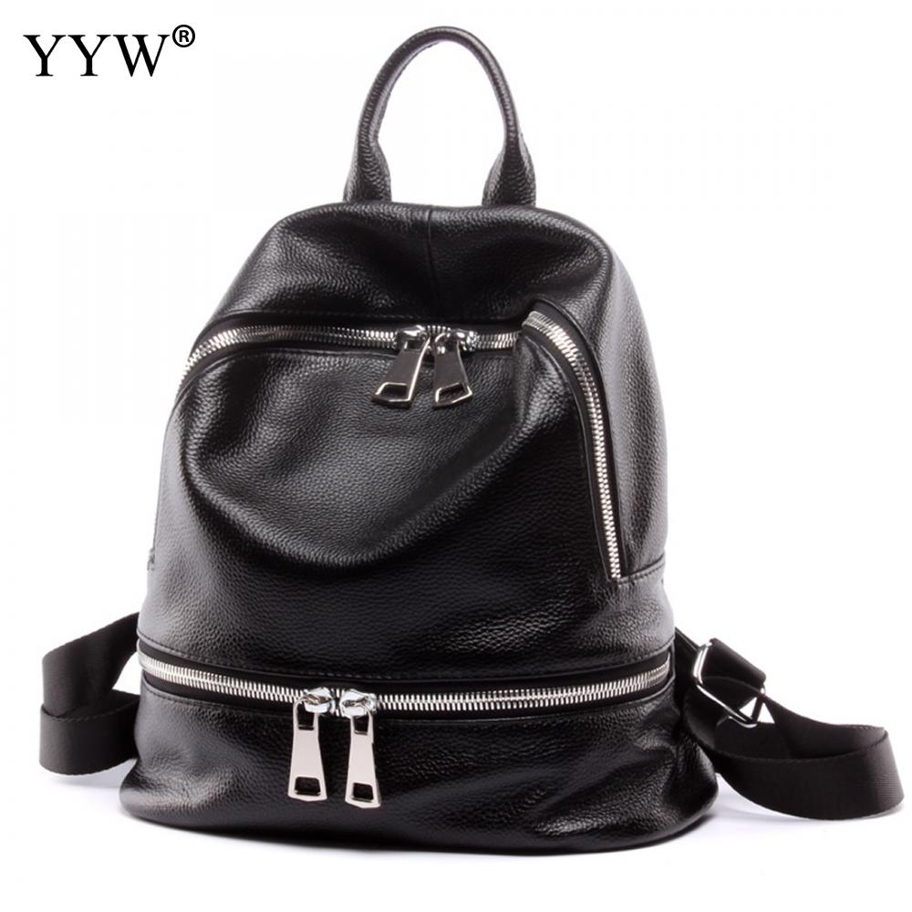 Fashion Black PU Leather Backpack Female Orange Backpacks for Adolescent Girls Women Solid Color Casual Small School Satchel Bag zency genuine leather backpacks female girls women backpack top layer cowhide school bag gray black pink purple black color