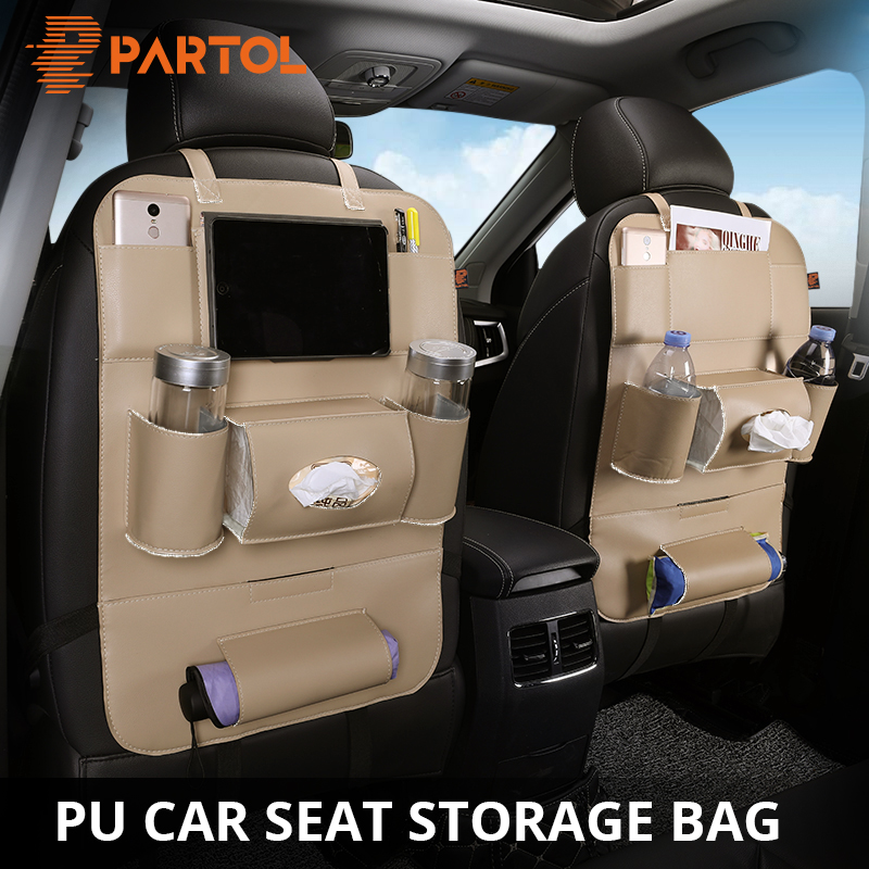 Partol Car Seat Back Storage Bag Organizer Multi-Pocke Travel Box PU Leather Stowing Tidying Protector Drink Auto Accessoires