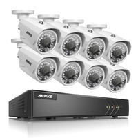 ANNKE 8CH 1080P Lite 5in1 Security HD DVR 720P IP66 IR CUT 100ft Night View Cameras
