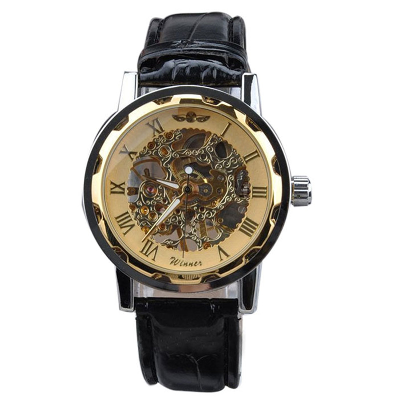 Men s Classic Black Leather Gold Dial Skeleton Mechanical Sport Wrist Watch Brand New High Quality