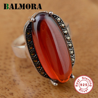 BALMORA 100 Real 925 Pure Sterling Silver Jewelry Jacinth Retro Rings For Women Lover Anniversary Valentine