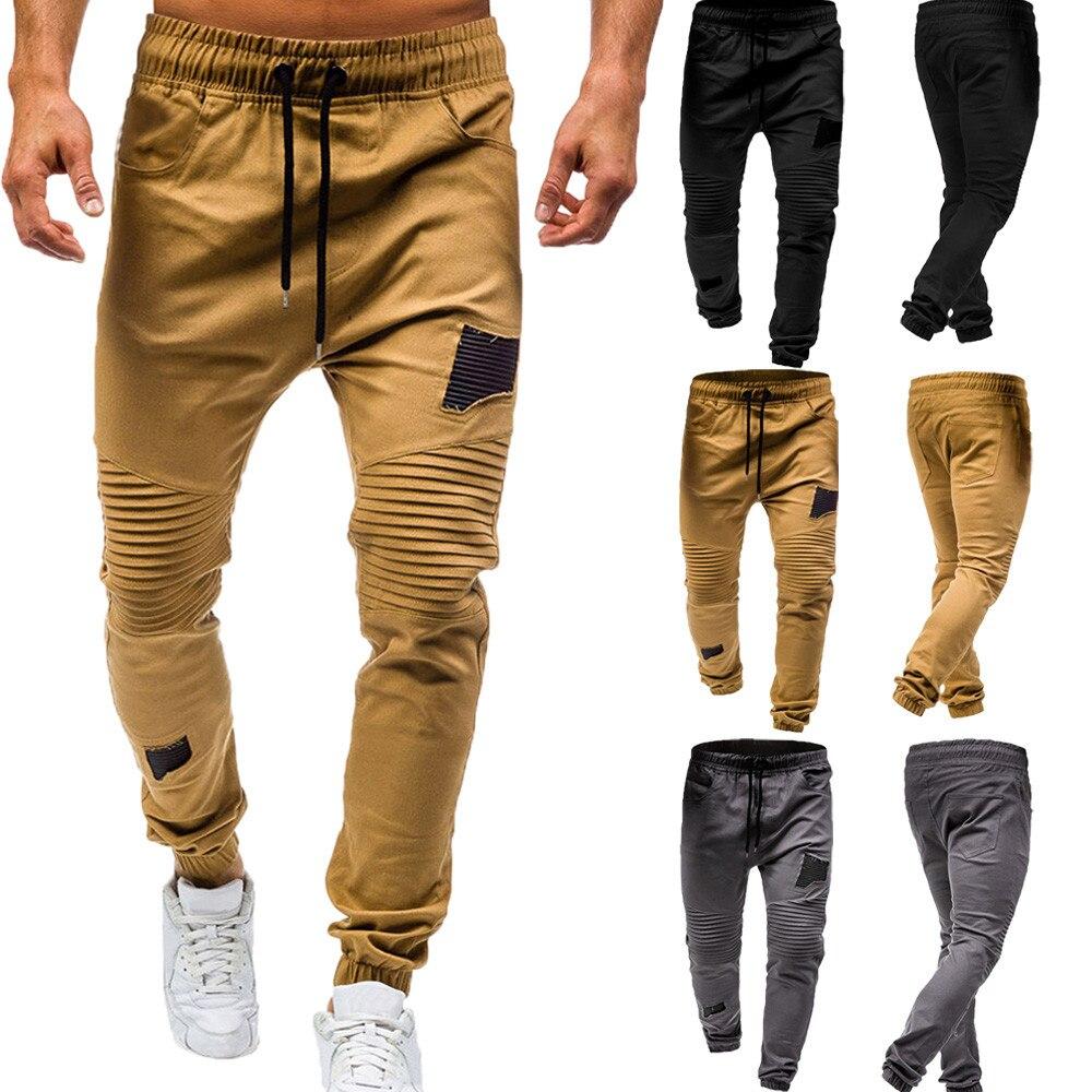 tactical pants Men's Drawstring Classic Joggers Pants Zipper Pockets Sport Sweat Pants trousers men pantalon homme(China)