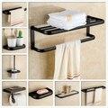 European Pure Brass Black Bathroom Hardware Sets Retro Bathroom Accessories Combination Towel Rack For Complete Accessories