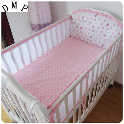 Promotion! 5PCS Mesh crib bedding infant nursery Bedding,baby bedding Cot Set,include(4bumpers+sheet)