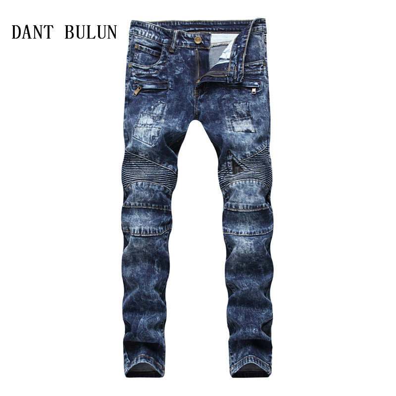 DANT BULUN High Quality Men Jeans Ripped Snow Washed Male Fashion Slim Fit Pleated Jeans Blue Zipper Straight Denim Pants,PY6611