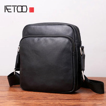 AETOO Shoulder diagonal bag men's small bag casual men's bag head layer mini square bag trend bag head bag