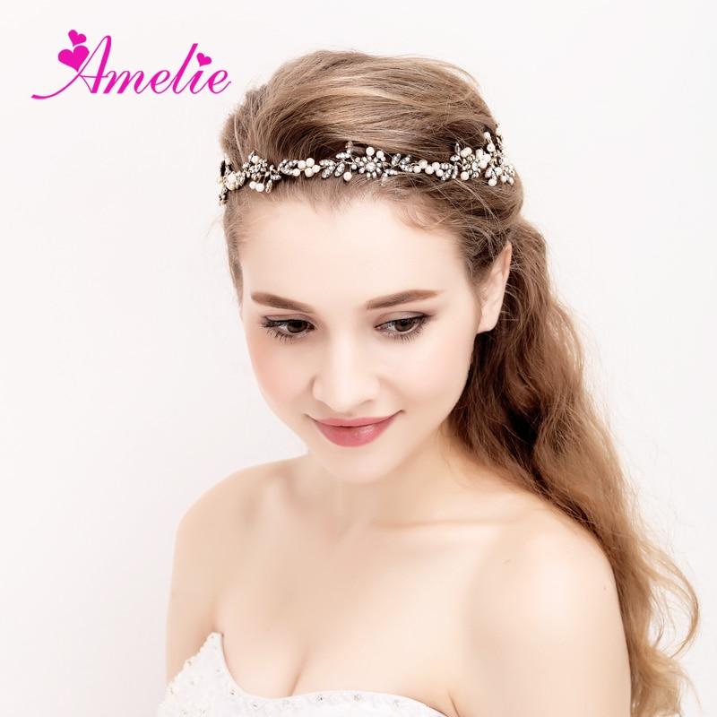 Vine Headband Wedding Bridal Headpiece Gold Pearl Bridal Floral Hair Accessories Crystal Weddings Beaded Tiara Prom Jewelllery headpiece