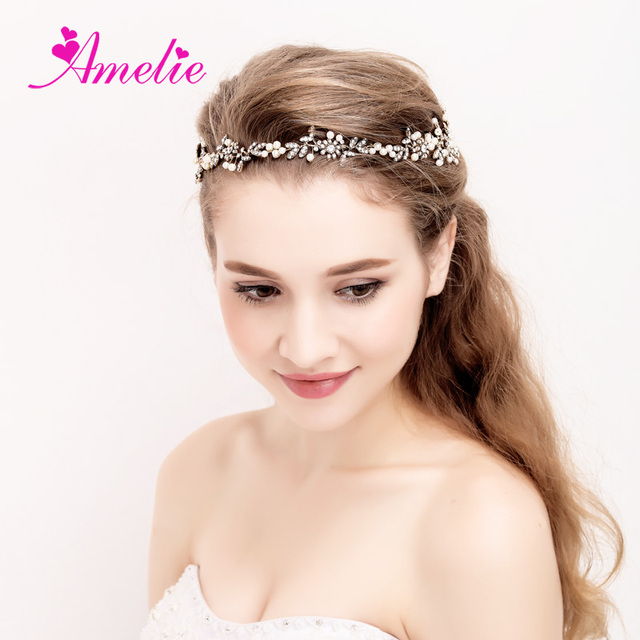 Headband Wedding Bridal Headpiece Gold Pearl Bridal Floral Hair