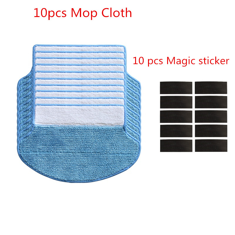 10pcs Mop Cloth for Proscenic 790T/780T/780TS/P1/P1S/P2/P2S/JAZZ/KAKA/Alpaca Plus/SUZUKA Robot Mop Cloth Vacuum Cleaner Parts