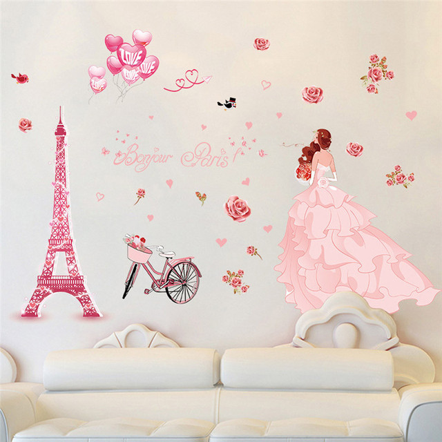 3d wall stickers bedroom romantic DIY Removable Paris iron girl ...