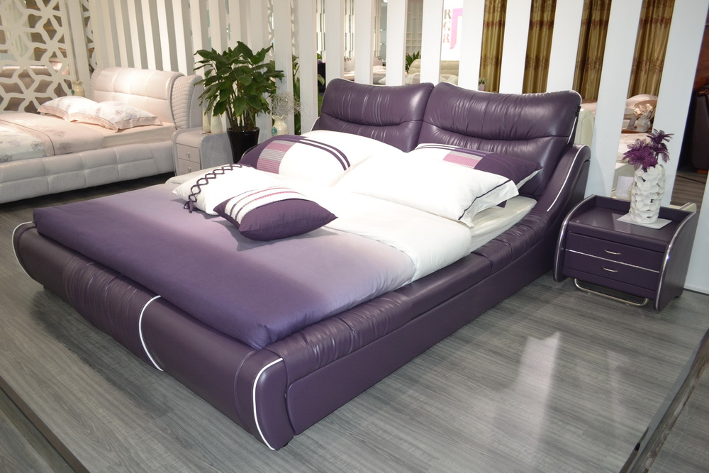 Online buy wholesale real leather bed from china real for Muebles para apartamentos