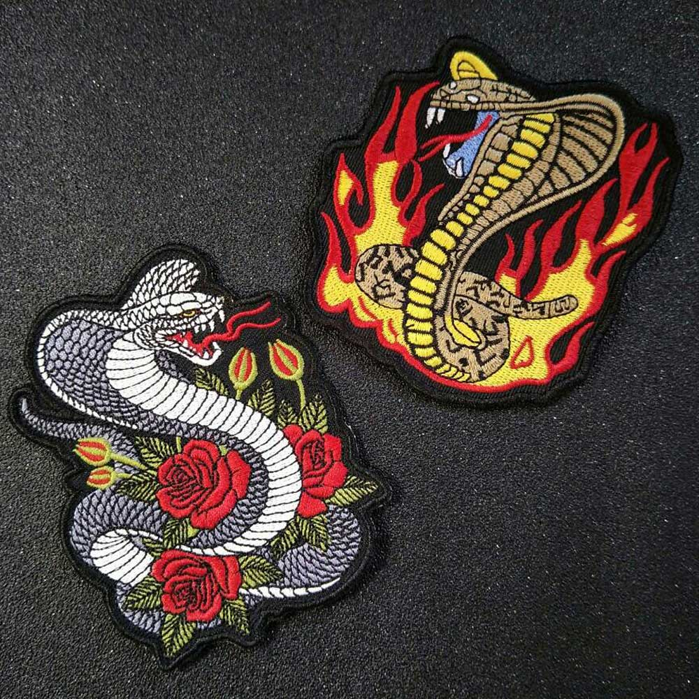 Ular Besi Di Patch Bordir Applique Jahit Label Stiker Pakaian Aksesoris biker Patch Badge