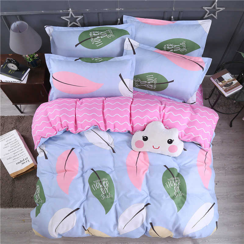 Plant Leaves Pattern Pink Duvet Cover  Bedding Set Couple Kids Child Bed Linen Single Queen King Size Quilt Comforter Case24