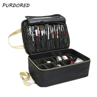PURDORED 1 pc Professional Cosmetic Box Large Capacity Makeup Box Travel Portable Makeup Beauty Tattoos Nail Kits Dropshipping