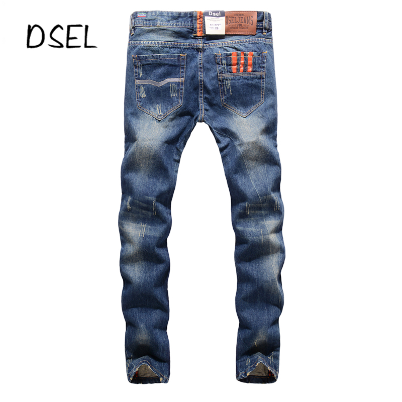Slim Fit Denim Blue Jeans Men High Quality Dsel Brand Jeans With Logo Mens Orange Buttons Jeans Ripped Pants J777 2017 slim fit jeans men new famous brand superably jeans ripped denim trousers high quality mens jeans with logo ue237