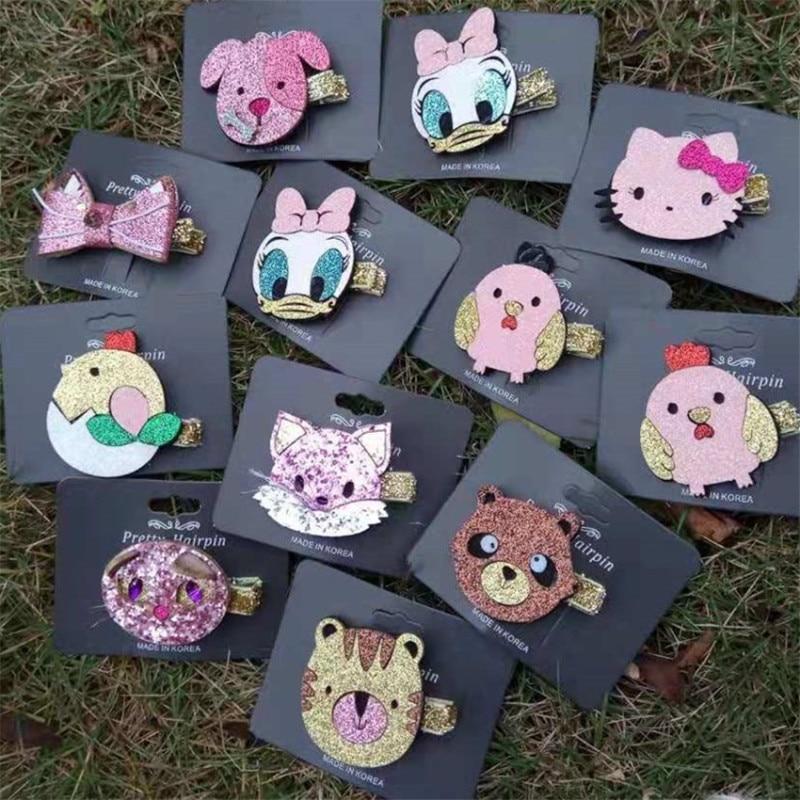20pcs//lot Glitter Unicorn Hairclips Cartoon Animal Hairpins Hair Accessories