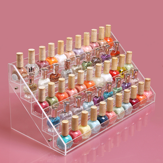 Hot Sale HIGH QUALITY Clear Acrylic Beauty Makeup Nail Polish Storage Organizer Rack Display Stand Holder 65 Drop Shipping