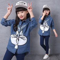 Long Style Girls Jeans Denim Jacket Bugs Bunny Print Outwear For Baby Cool Print Spring Autumn
