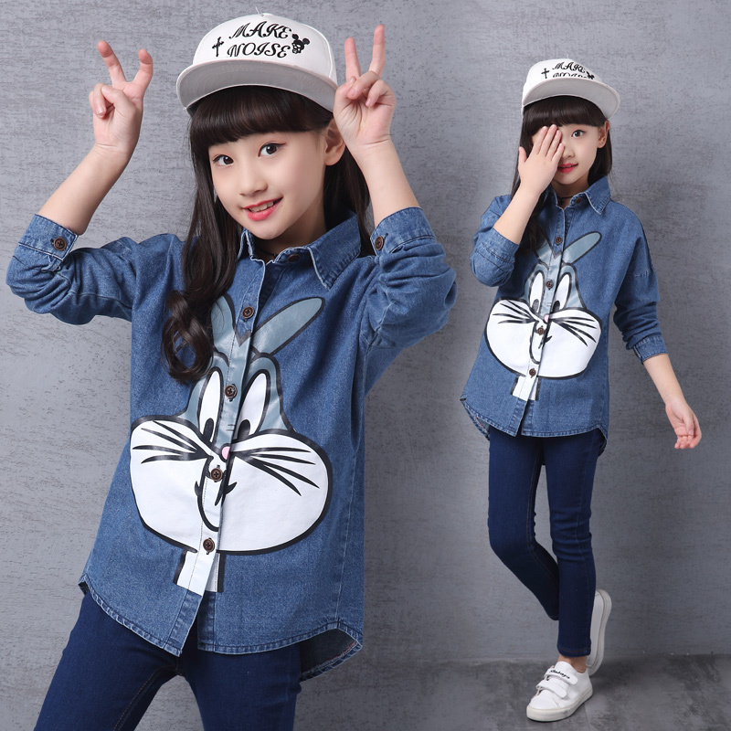 Long Style Girls Jeans Denim Jacket Bugs Bunny Print Outwear for Baby Cool Print Spring Autumn Coat Tops Kids Fashion Costume