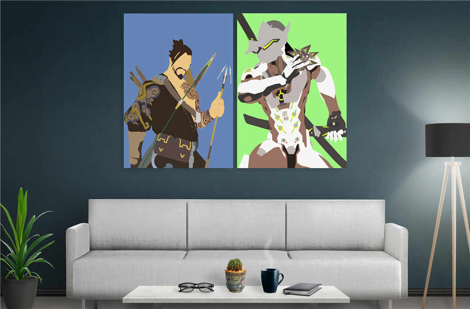 Poster Set DC vs Marvel 2 Panel Wall Art Oil Painting Poster Canvas Painting Print Pictures for Living Room Home Decor