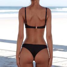 Solid Bikini Set Push-up UnPadded Bra Swimsuit