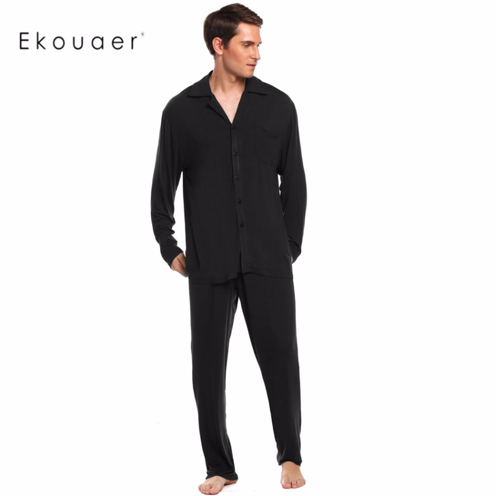 Ekouaer Mens Pajamas Set Nightwear Long Sleeve Solid Loose Sleepwear Set Broadcloth Turn Down Collar Loungewear M-3XL ...