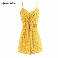 Efvandoloe Bohemian Playsuit Yellow Floral Printed Jumpsuit V neck Sling Rompers 2018 Jumpsuits Elegant
