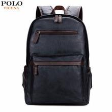 Vicuna polo de marca para hombre de cuero portátil mochila informal mochilas para el colegio de alta capacidad hombres mochila de viaje bolsa de la escuela de moda