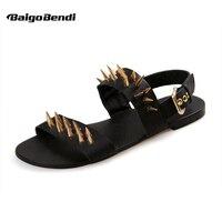Clearance Sale US 10 Men Genuine Leather Metal Thongs Roman Style Gladiator Summer Beach Rivet Sandals Man Punk Shoes