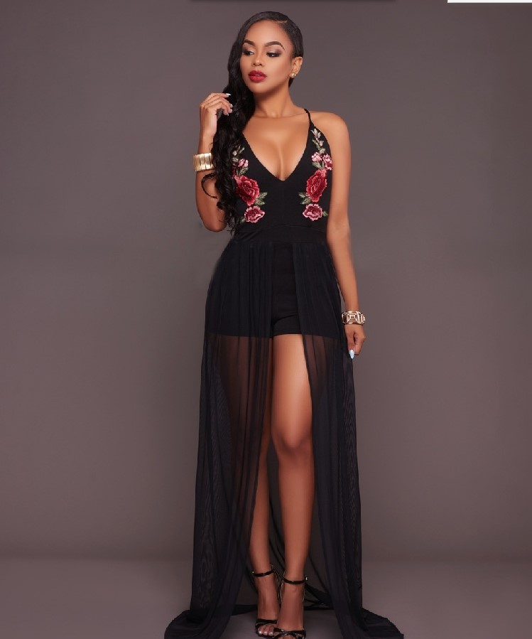 new arrival girls fashion lace playsuits black flower V neck lace jumpsuits lady's sexy night club clothes playsuit size L #L325