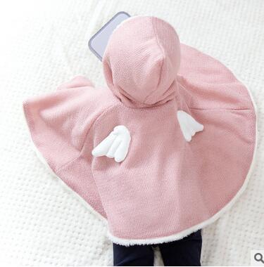 2016 nueva primavera otoño bebé chaqueta vestido de niña, además de terciopelo con capucha alas salvajes bufanda capa del niño 100% algodón rompevientos envío gratis