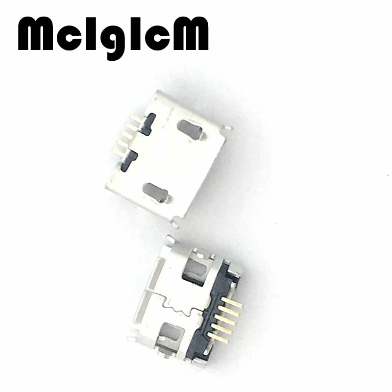 MCIGICM 100pcs Micro USB 5pin Long Pin Jack Female Socket G32 Connector OX Horn Curly Mouth for Tail Charging Mobile Phone