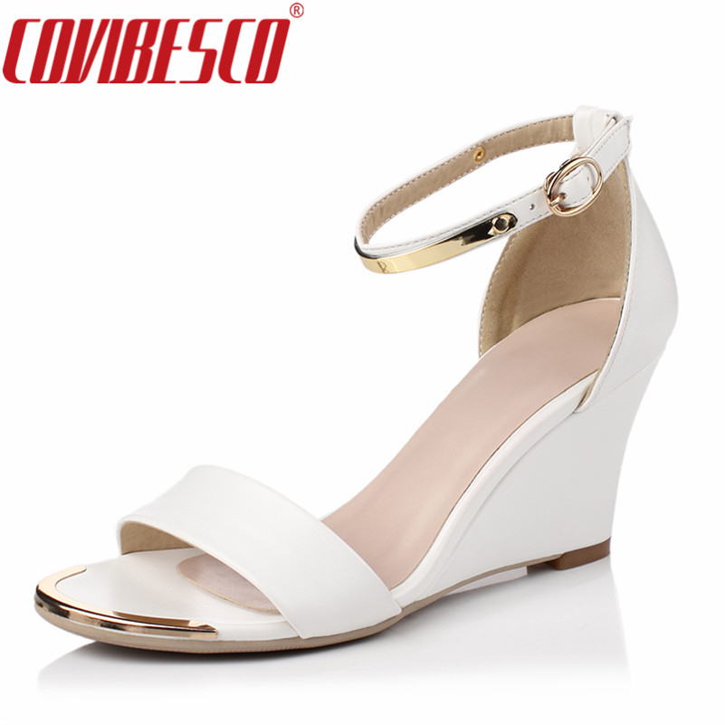 COVIBESCO Hot Fashion Summer Women Sandals Wedges Heels Gladiator Party Platforms Female Ankle Strap Black White Elegant Shoes phyanic 2017 gladiator sandals gold silver shoes woman summer platform wedges glitters creepers casual women shoes phy3323
