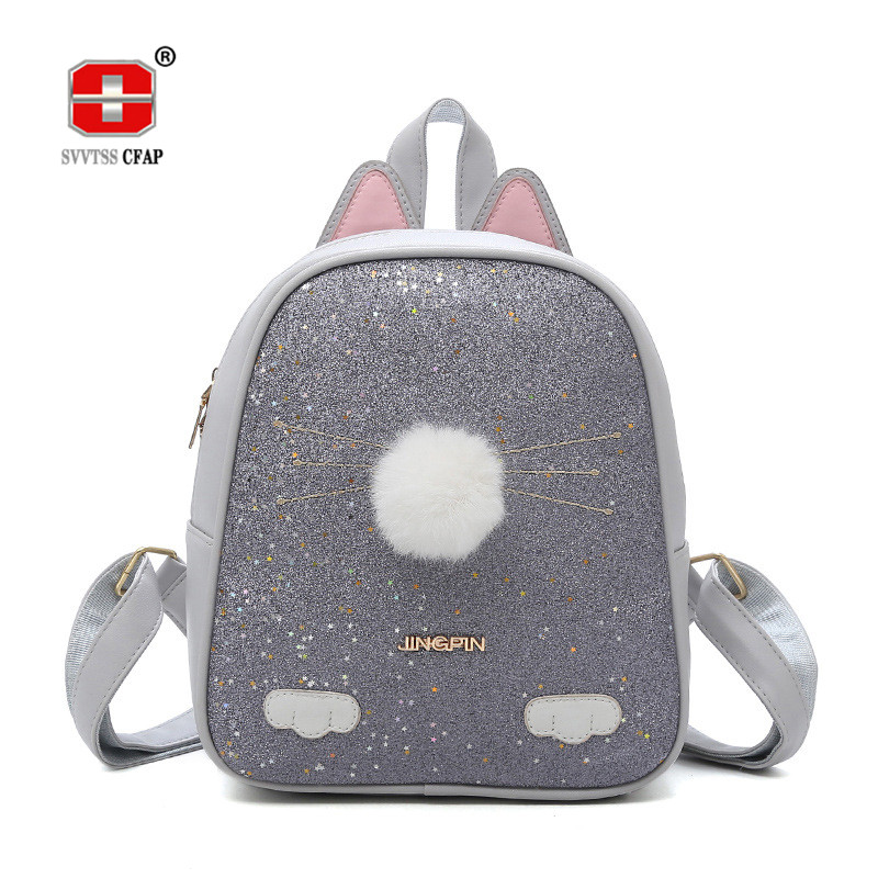 Cute Cartoon Cat backpack for girls Small 2018 Quality Solid Pu Leather Fashion women Back Pack Female Casual Back Bag Ladies