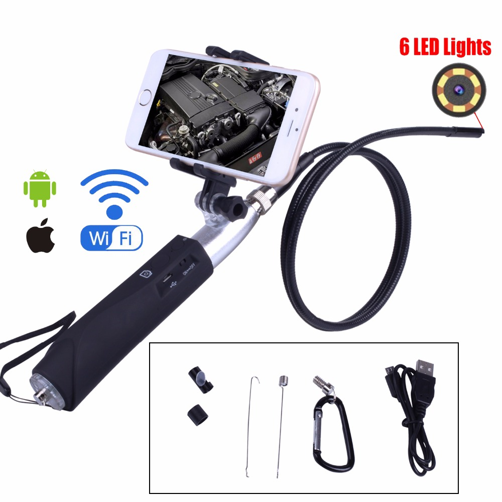 Wifi Endoscope Camera 8mm for iphone Android Borescope Waterproof Tube Inspection Endoscope camera with Mobile phone holder image