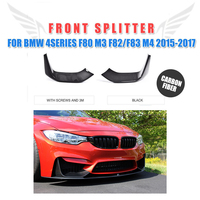 Carbon Fiber Front Splitters Lip Flaps for BMW 3 Series F80 M3 4 Door F82 F83 M4 2 Door Bumper 2015 2017 FRP Unpainted