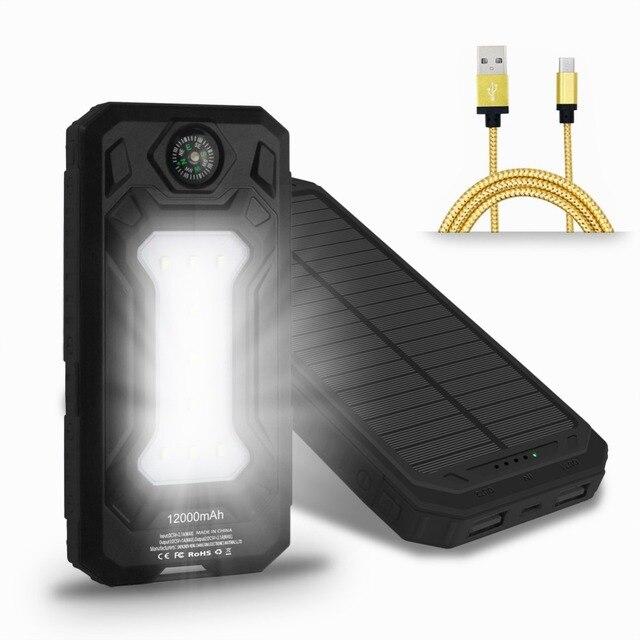 2017 Водонепроницаемый Солнечной Банк силы 12000 мАч Dual USB Солнечное Зарядное Устройство с LED лагерь Свет Компас телефонный кабель
