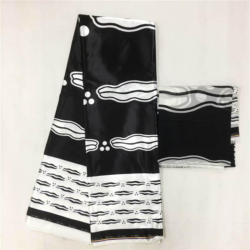 Imitated Silk wax black and white silk chiffon fabric african fabric ankara african wax prints fabric 4+2yards ! J52608-in Fabric from Home & Garden    1