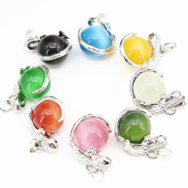 22x27mm lizard animal design charms pendant jewelry making round 22x27mm lizard animal design charms pendant jewelry making round ball cat eyes opal crystal inlay diy mozeypictures Images