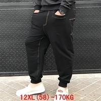 Men's big pants 170KG plus size 11XL 12XL loose stretch large size 6XL 7XL 8XL 9XL 10XL spring casual pants black 54 56 58