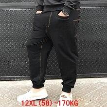 남성용 큰 바지 170 kg 플러스 사이즈 11xl 12xl 느슨한 스트레치 대형 6xl 7xl 8xl 9xl 10xl 봄 캐주얼 바지 블랙 54 56 58