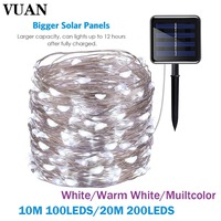 100 200led Solar Powered Led Strip Light Fairy 10M 20M Outdoor Waterproof Solar Decoration Lights 8