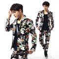 2015 New Style High quality  Fashion Male Flower Print Slim suits wedding dinner suit sets male ds costumes blazers