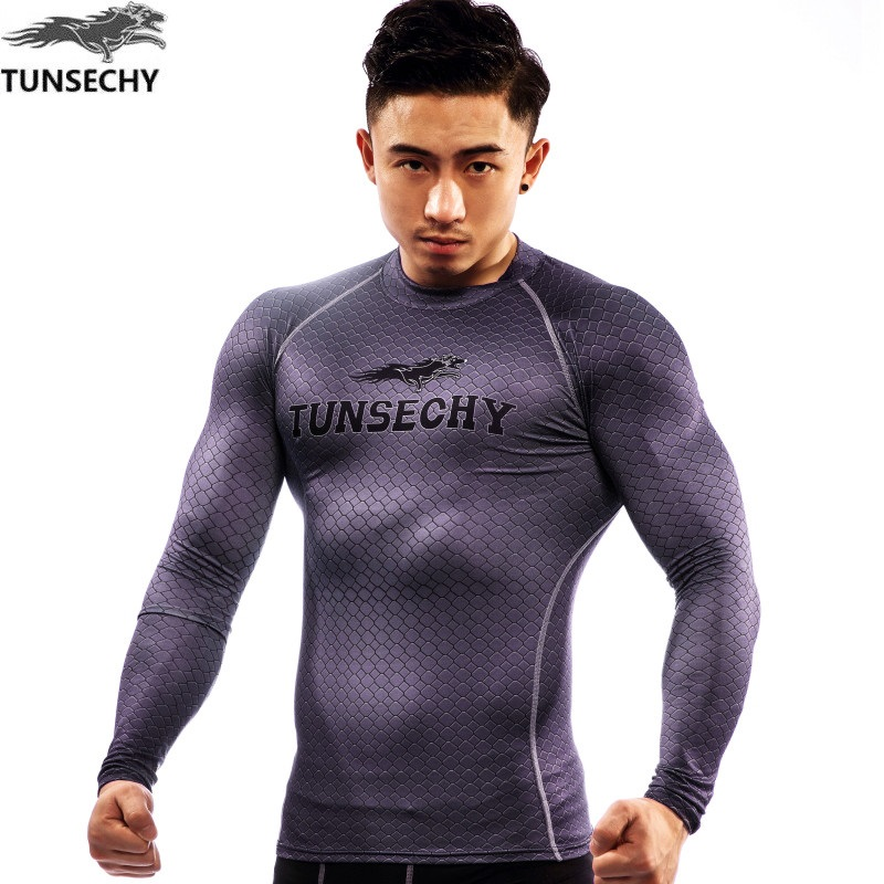 Brand New TUNSECHY brand men Shirt Anti-UV compression tights clothes long-sleeved Breathable Superelastic Joggers tops tees