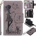 Para huawei y5 2 lady make up espelho carteira titular do cartão 9 gato menina embossing virar capa de couro para o huawei y5 ii caso capa