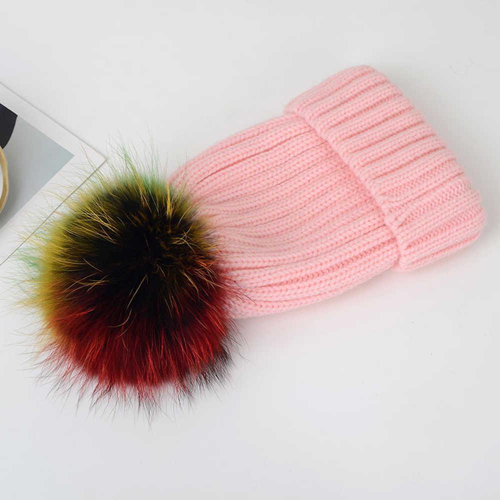 2019 novo guaxinim verdadeira pele de 15 centímetros pompons pele bola tampão do inverno chapéu de pele de guaxinim chapéus de pele de malha gorros cap nova marca thick tampas