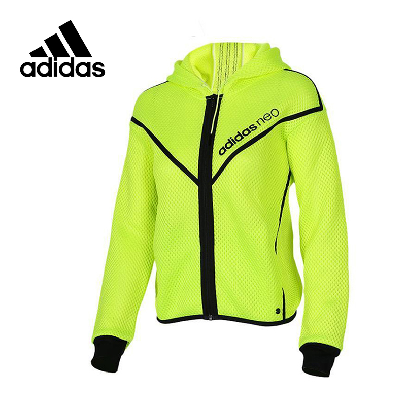 Adidas Original New Arrival Official NEO Women's Jacket Breathable Fluorescence Hooded Sportswear AJ8637 цена 2017