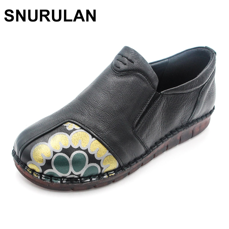 SNURULAN Women Casual Shoes Female Genuine Leather Printing Loafers Fashion Handmade Shoes Slip On Soft Bottom Flats Shoes cresfimix zapatos women cute flat shoes lady spring and summer pu leather flats female casual soft comfortable slip on shoes