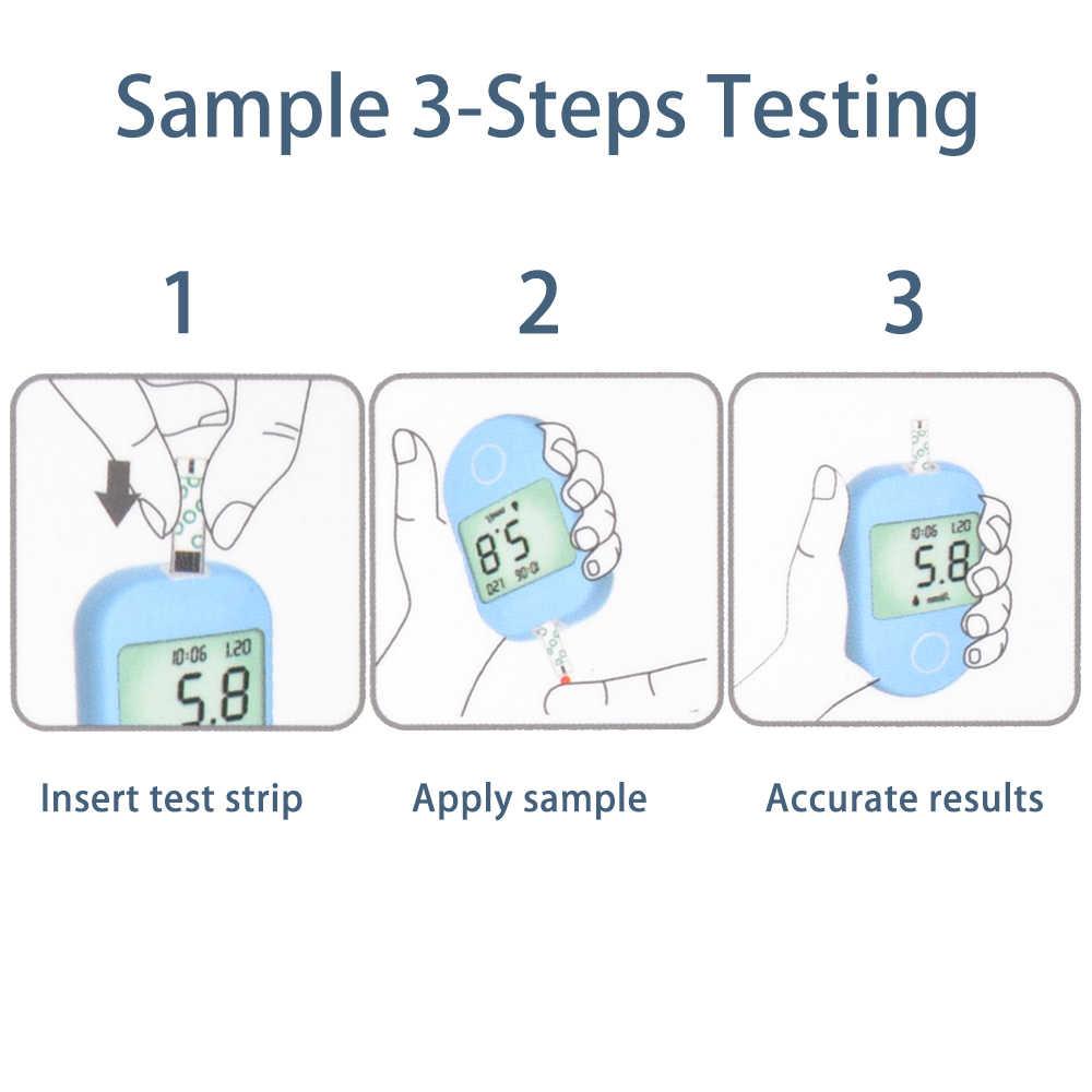 ENVN misuratore di Glucosio Nel Sangue di Zucchero Nel Sangue Monitor glycuresis Monitor per il Glucometro Diabetici Strisce Reattive Lancette mg/dL